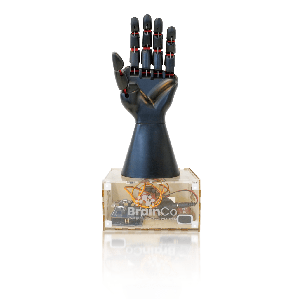 Brainco-prosthetic-hand-STEM-kit-with-reflection