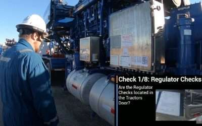 Inspection of mobile fracking equipment using AR
